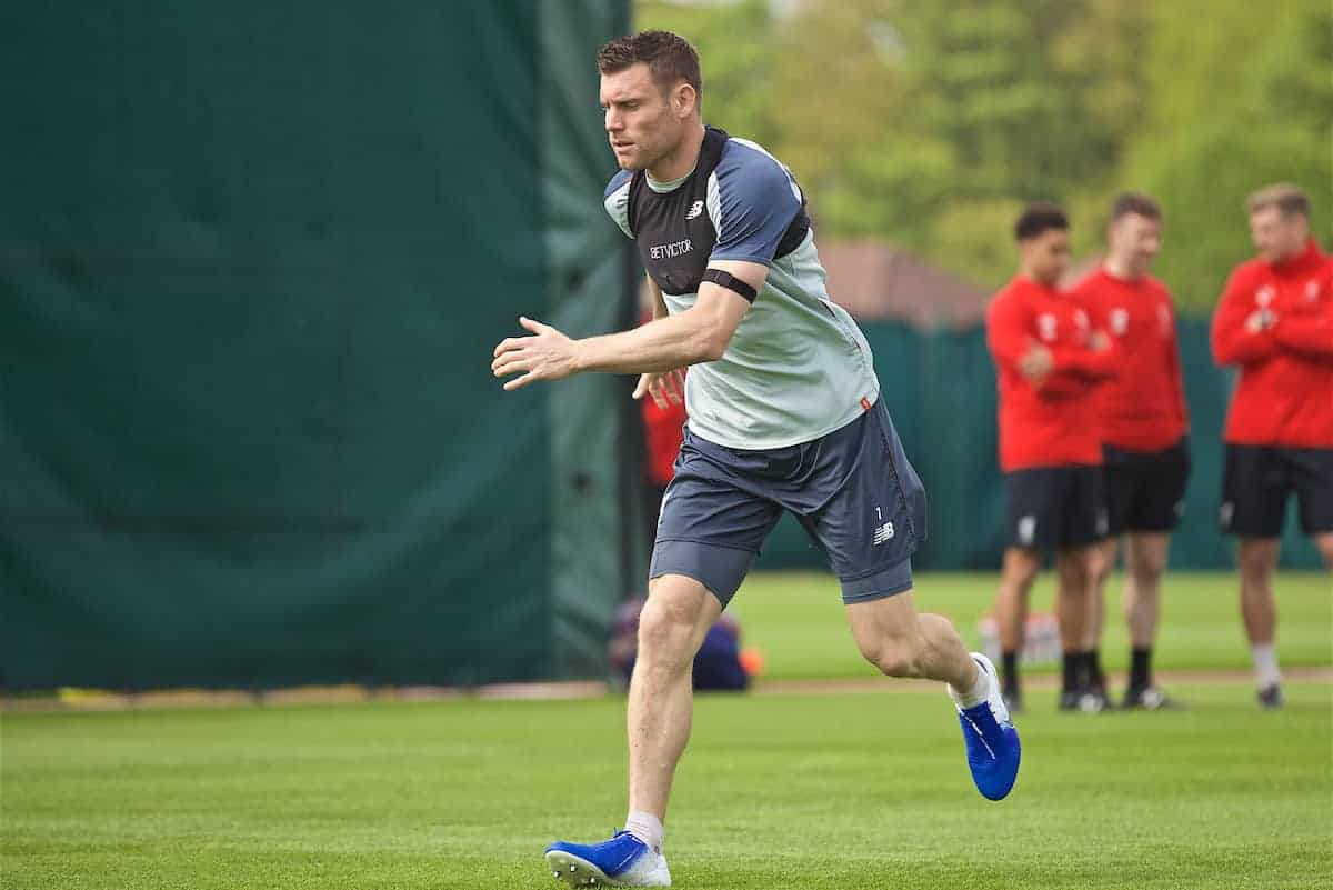 LIVERPOOL, ENGLAND - Tuesday, April 30, 2019: Liverpool's James Milner during a training session at Melwood Training Ground ahead of the UEFA Champions League Semi-Final 1st Leg match between FC Barcelona and Liverpool FC. (Pic by Laura Malkin/Propaganda)