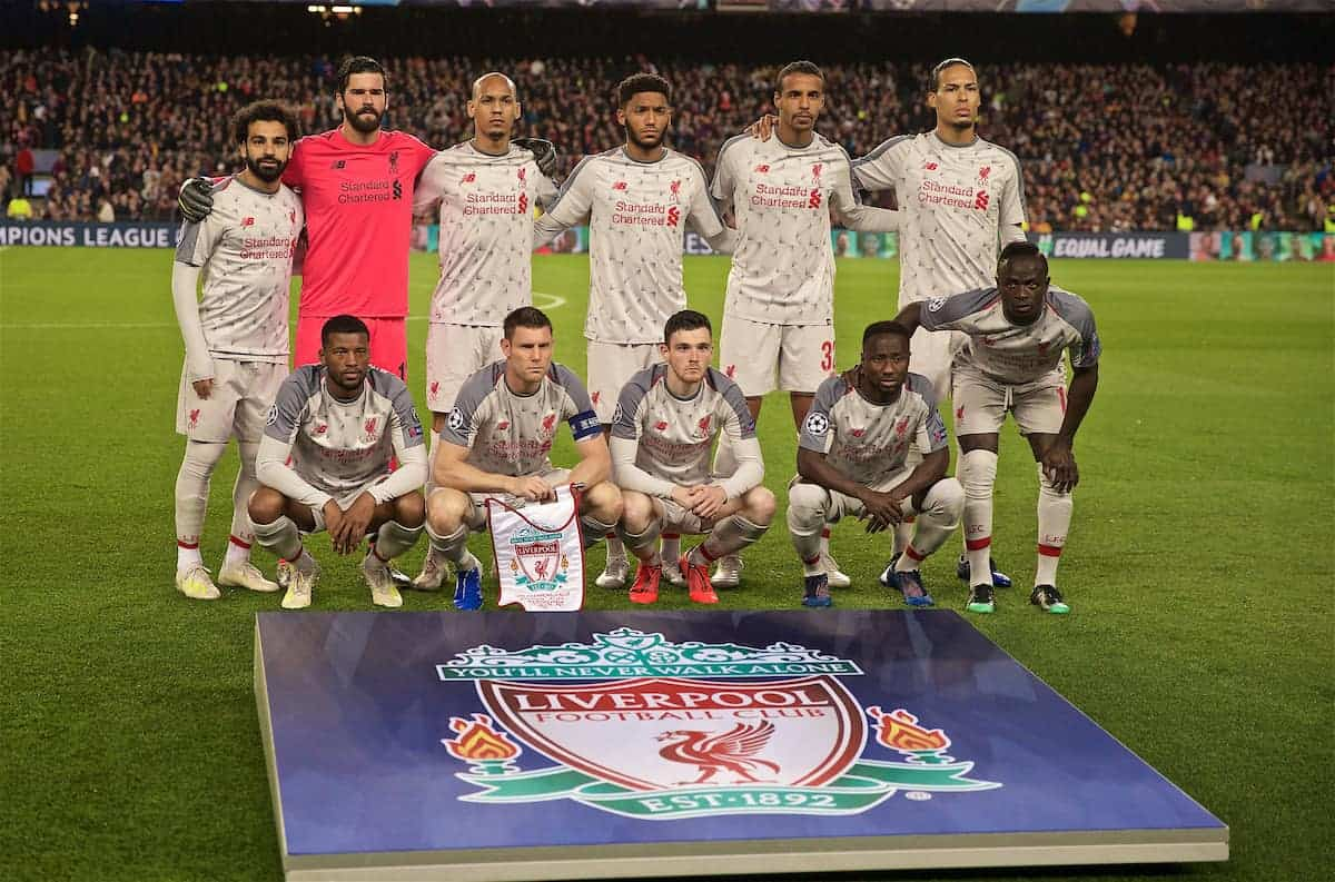 BARCELONA, SPAIN - Wednesday, May 1, 2019: Liverpool's players line-up for a team group photograph before the UEFA Champions League Semi-Final 1st Leg match between FC Barcelona and Liverpool FC at the Camp Nou. Back row L-R: Mohamed Salah, goalkeeper Alisson Becker, Fabio Henrique Tavares 'Fabinho', Joe Gomez, Joel Matip, Virgil van Dijk. Front row L-R: Georginio Wijnaldum, captain James Milner, Andy Robertson, Naby Keita, Sadio Mane. (Pic by David Rawcliffe/Propaganda)