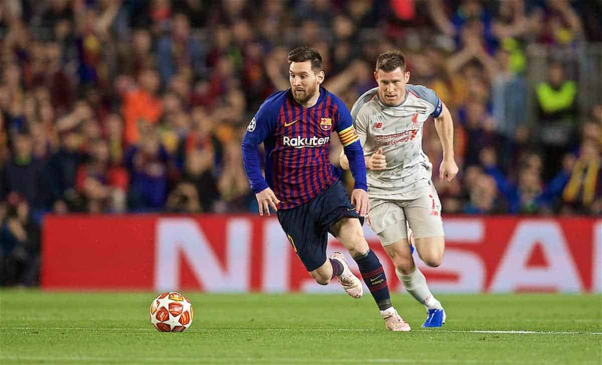 BARCELONA, SPAIN - Wednesday, May 1, 2019: Liverpool's captain James Milner (R) and FC Barcelona's Lionel Messi during the UEFA Champions League Semi-Final 1st Leg match between FC Barcelona and Liverpool FC at the Camp Nou. (Pic by David Rawcliffe/Propaganda)