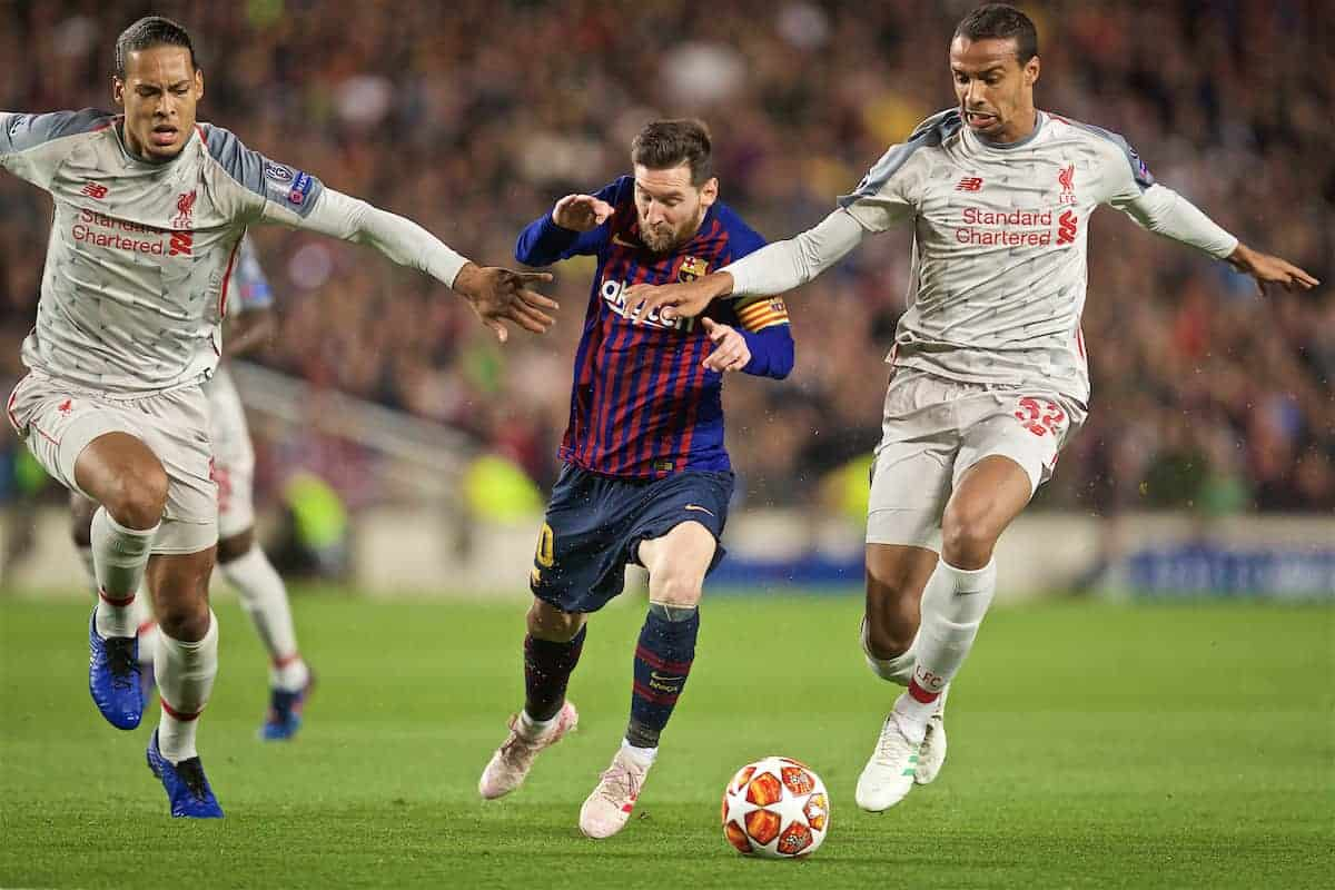 BARCELONA, SPAIN - Wednesday, May 1, 2019: FC Barcelona's Lionel Messi (C) is challenged by Liverpool's Virgil van Dijk (L) and Joel Matip (R) during the UEFA Champions League Semi-Final 1st Leg match between FC Barcelona and Liverpool FC at the Camp Nou. (Pic by David Rawcliffe/Propaganda)