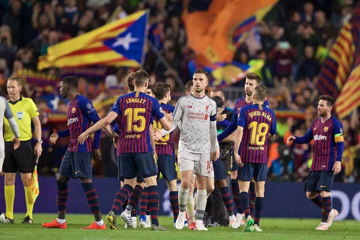 BARCELONA, SPAIN - Wednesday, May 1, 2019: Liverpool's captain Jordan Henderson looks dejected after losing 3-0 during the UEFA Champions League Semi-Final 1st Leg match between FC Barcelona and Liverpool FC at the Camp Nou. (Pic by David Rawcliffe/Propaganda)