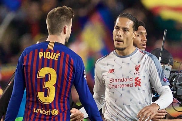 BARCELONA, SPAIN - Wednesday, May 1, 2019: Liverpool's Virgil van Dijk looks dejected after losing 3-0 during the UEFA Champions League Semi-Final 1st Leg match between FC Barcelona and Liverpool FC at the Camp Nou. (Pic by David Rawcliffe/Propaganda)