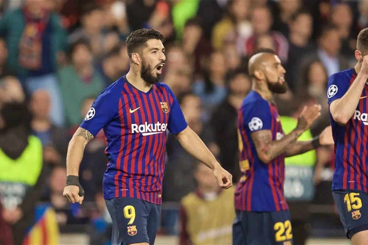 BARCELONA, SPAIN - Wednesday, May 1, 2019: FC Barcelona's Luis Suárez celebrates scoring the first goal during the UEFA Champions League Semi-Final 1st Leg match between FC Barcelona and Liverpool FC at the Camp Nou. (Pic by David Rawcliffe/Propaganda)