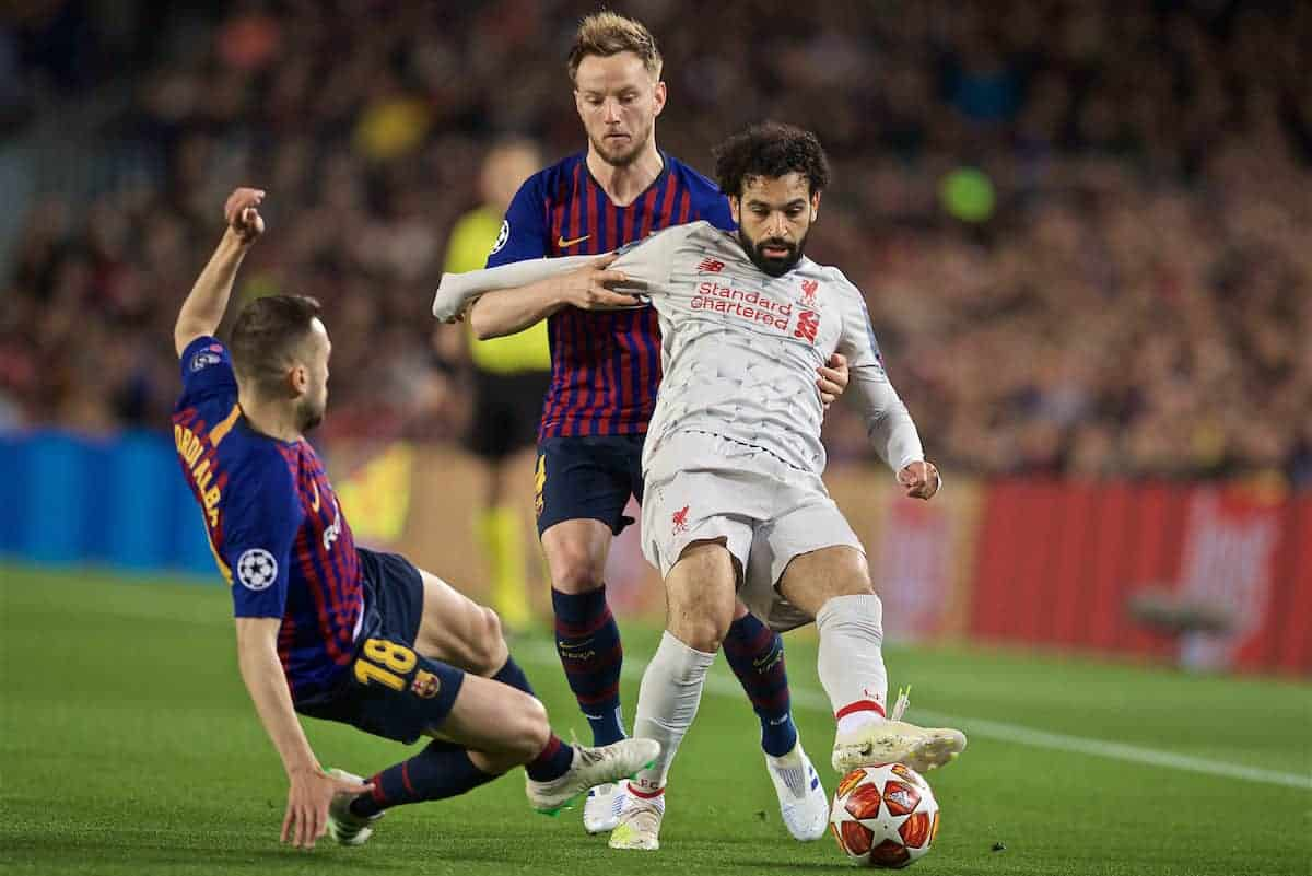 BARCELONA, SPAIN - Wednesday, May 1, 2019: Liverpool's Mohamed Salah (R) is tackled by FC Barcelona's Jordi Alba (L) during the UEFA Champions League Semi-Final 1st Leg match between FC Barcelona and Liverpool FC at the Camp Nou. (Pic by David Rawcliffe/Propaganda)
