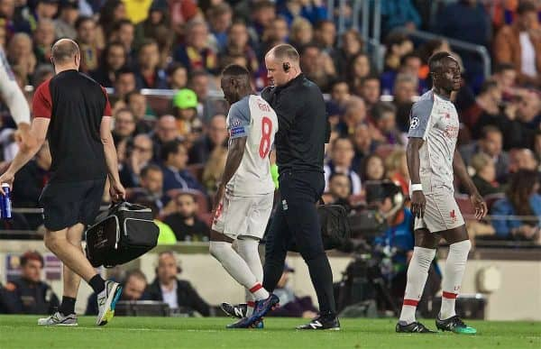 BARCELONA, SPAIN - Wednesday, May 1, 2019: Liverpool's Naby Keita goes off injured during the UEFA Champions League Semi-Final 1st Leg match between FC Barcelona and Liverpool FC at the Camp Nou. (Pic by David Rawcliffe/Propaganda)