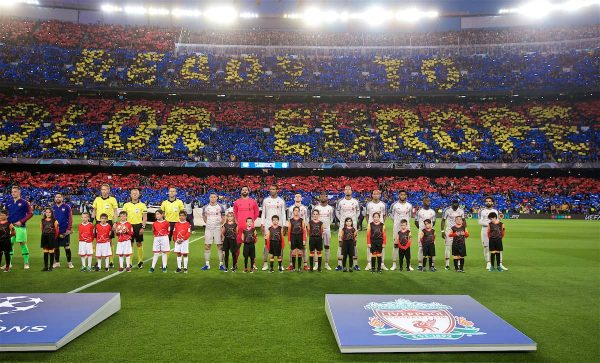BARCELONA, SPAIN - Wednesday, May 1, 2019: Liverpool platers line-up before the UEFA Champions League Semi-Final 1st Leg match between FC Barcelona and Liverpool FC at the Camp Nou. (Pic by David Rawcliffe/Propaganda)
