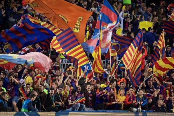 BARCELONA, SPAIN - Wednesday, May 1, 2019: FC Barcelona supporters before the UEFA Champions League Semi-Final 1st Leg match between FC Barcelona and Liverpool FC at the Camp Nou. (Pic by David Rawcliffe/Propaganda)