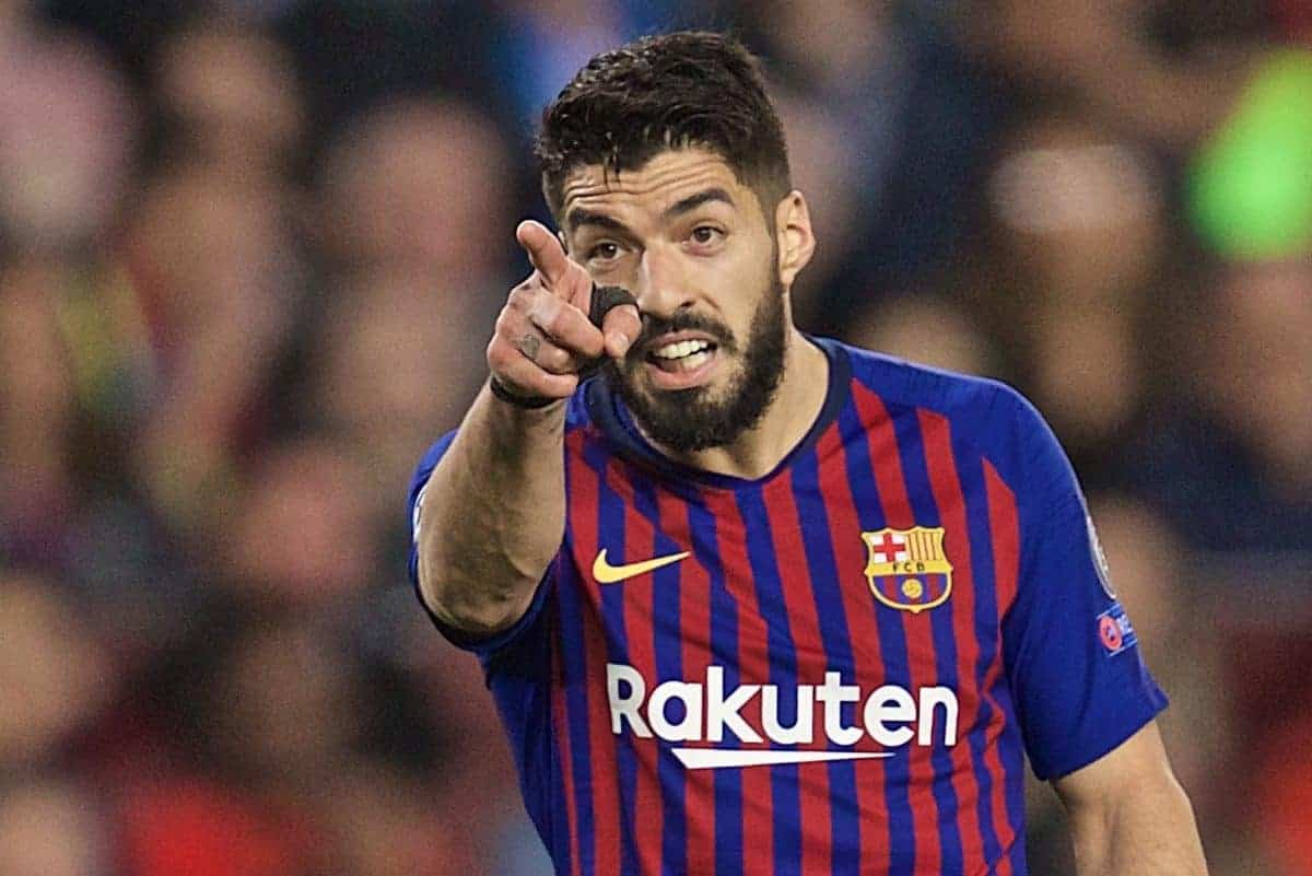 BARCELONA, SPAIN - Wednesday, May 1, 2019: FC Barcelona's Luis Suárez during the UEFA Champions League Semi-Final 1st Leg match between FC Barcelona and Liverpool FC at the Camp Nou. (Pic by David Rawcliffe/Propaganda)