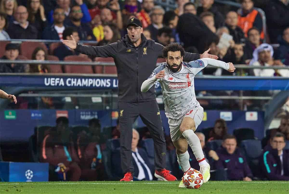 BARCELONA, SPAIN - Wednesday, May 1, 2019: Liverpool's Mohamed Salah and manager Jürgen Klopp during the UEFA Champions League Semi-Final 1st Leg match between FC Barcelona and Liverpool FC at the Camp Nou. (Pic by David Rawcliffe/Propaganda)