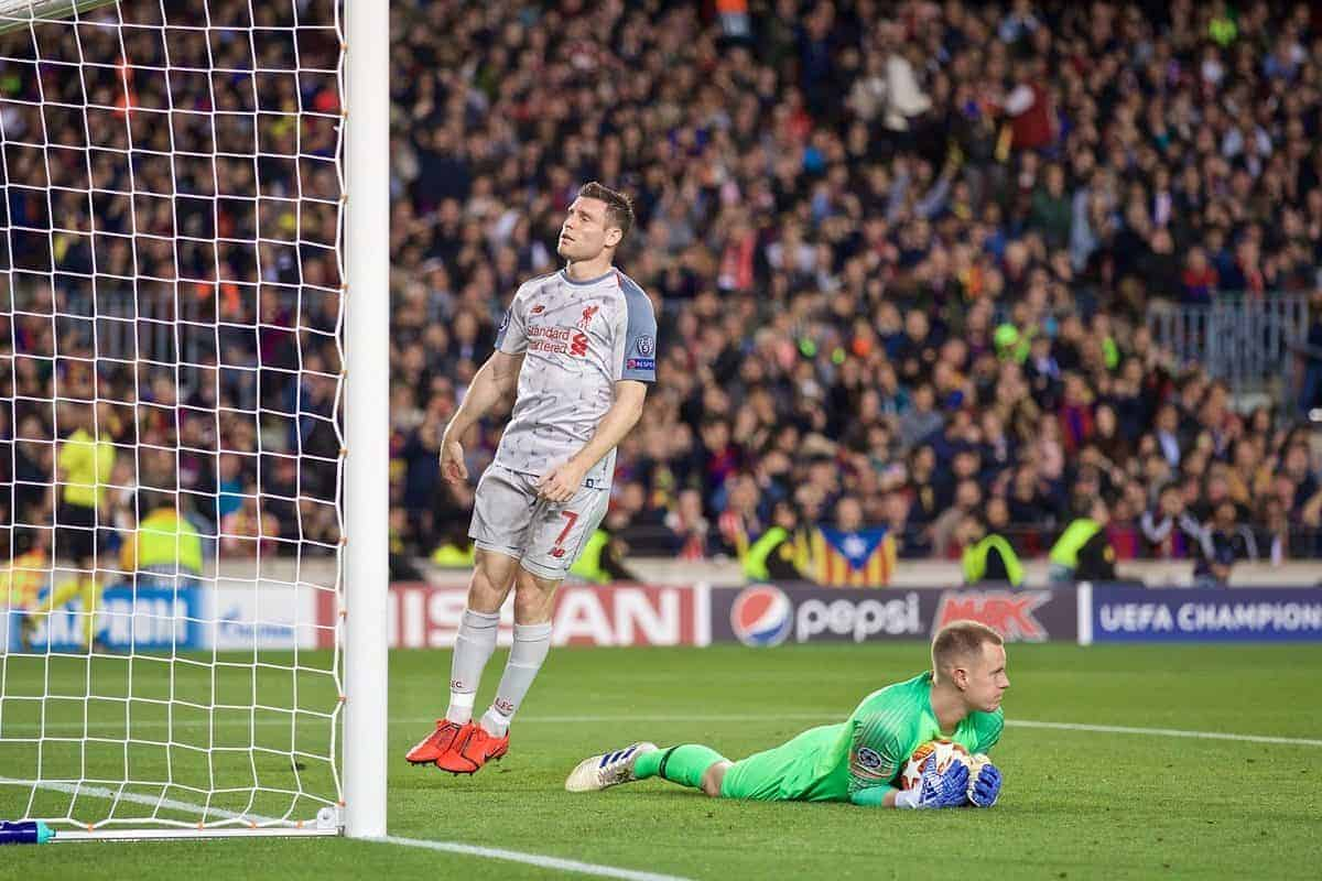 BARCELONA, SPAIN - Wednesday, May 1, 2019: Liverpool's James Milner looks dejected after missing a chance during the UEFA Champions League Semi-Final 1st Leg match between FC Barcelona and Liverpool FC at the Camp Nou. (Pic by David Rawcliffe/Propaganda)