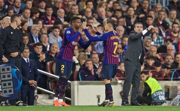 BARCELONA, SPAIN - Wednesday, May 1, 2019: FC Barcelona's Philippe Coutinho Correia is replaced by substitute Nélson Semedo during the UEFA Champions League Semi-Final 1st Leg match between FC Barcelona and Liverpool FC at the Camp Nou. (Pic by David Rawcliffe/Propaganda)