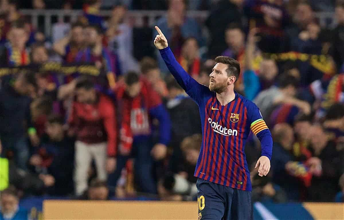 BARCELONA, SPAIN - Wednesday, May 1, 2019: FC Barcelona's Lionel Messi celebrates scoring the second goal during the UEFA Champions League Semi-Final 1st Leg match between FC Barcelona and Liverpool FC at the Camp Nou. (Pic by David Rawcliffe/Propaganda)