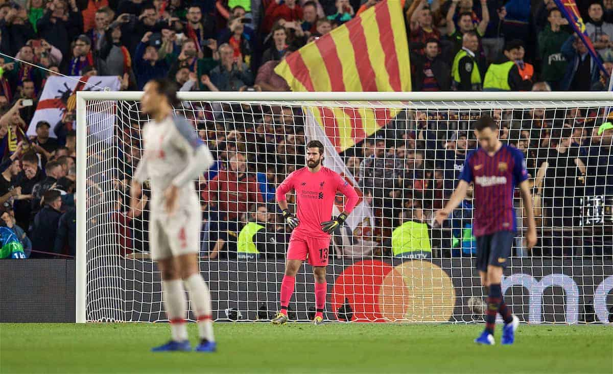 BARCELONA, SPAIN - Wednesday, May 1, 2019: Liverpool's goalkeeper Alisson Becker looks dejected after missing the second goal during the UEFA Champions League Semi-Final 1st Leg match between FC Barcelona and Liverpool FC at the Camp Nou. (Pic by David Rawcliffe/Propaganda)