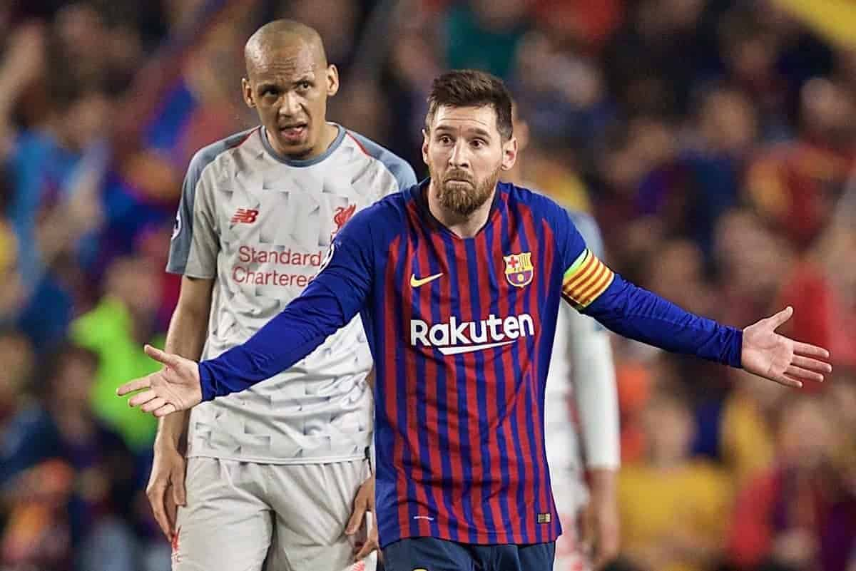 BARCELONA, SPAIN - Wednesday, May 1, 2019: Liverpool's Fabinho during the UEFA Champions League Semi-Final 1st Leg match between FC Barcelona and Liverpool FC at the Camp Nou. (Pic by David Rawcliffe/Propaganda)