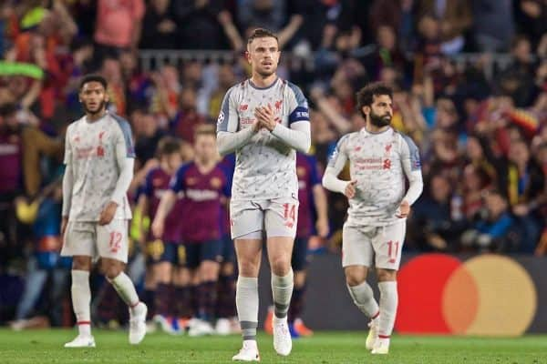 BARCELONA, SPAIN - Wednesday, May 1, 2019: Liverpool's captain Jordan Henderson looks dejected as FC Barcelona score a second goal during the UEFA Champions League Semi-Final 1st Leg match between FC Barcelona and Liverpool FC at the Camp Nou. FC Barcelona won 3-0. (Pic by David Rawcliffe/Propaganda)