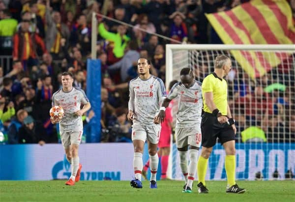 BARCELONA, SPAIN - Wednesday, May 1, 2019: Liverpool's Virgil van Dijk looks dejected as FC Barcelona score the third goal during the UEFA Champions League Semi-Final 1st Leg match between FC Barcelona and Liverpool FC at the Camp Nou. FC Barcelona won 3-0. (Pic by David Rawcliffe/Propaganda)