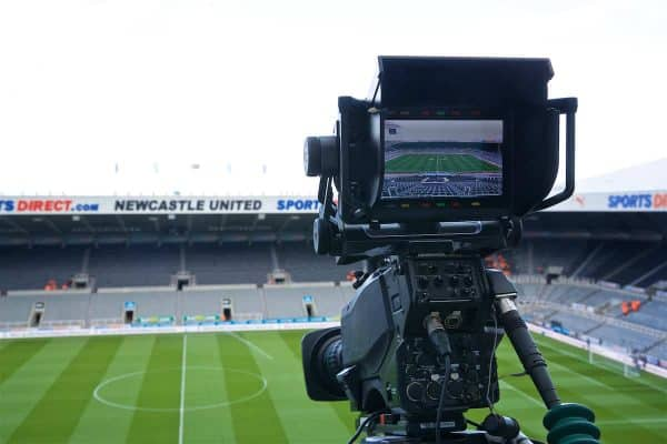 A television camera films a general view of Newcastle United's St James' Park ahead of the FA Premier League match between Newcastle United FC and Liverpool FC. (Pic by David Rawcliffe/Propaganda)