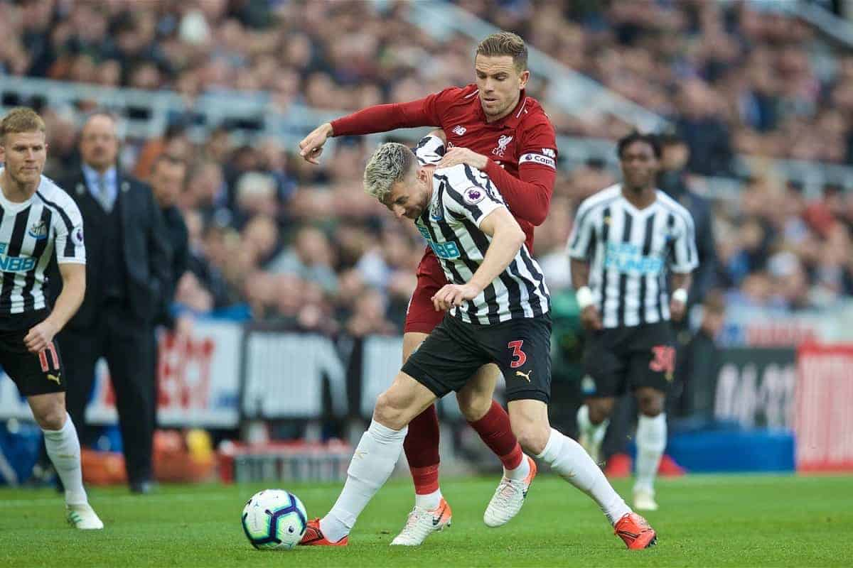 NEWCASTLE-UPON-TYNE, ENGLAND - Saturday, May 4, 2019: Liverpool's captain Jordan Henderson (R) and Newcastle United's Paul Dummett during the FA Premier League match between Newcastle United FC and Liverpool FC at St. James' Park. (Pic by David Rawcliffe/Propaganda)