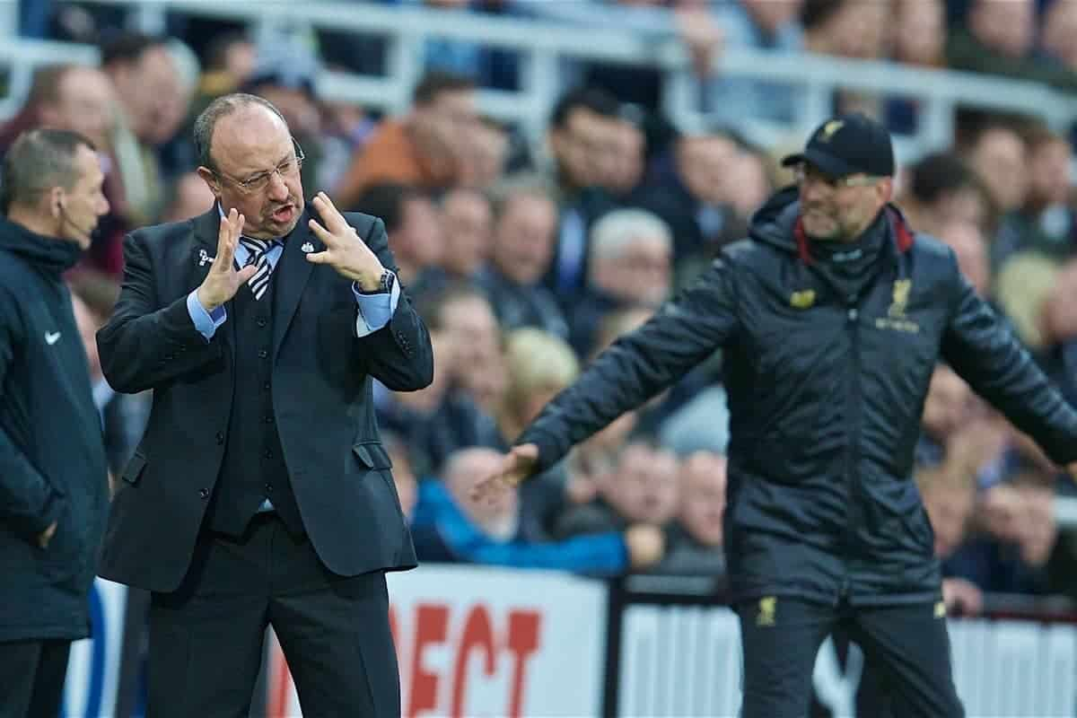 NEWCASTLE-UPON-TYNE, ENGLAND - Saturday, May 4, 2019: Newcastle United's manager Rafael Benitez reacts during the FA Premier League match between Newcastle United FC and Liverpool FC at St. James' Park. (Pic by David Rawcliffe/Propaganda)