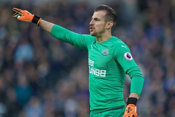 NEWCASTLE-UPON-TYNE, ENGLAND - Saturday, May 4, 2019: Newcastle United's goalkeeper Martin Dúbravka reacts during the FA Premier League match between Newcastle United FC and Liverpool FC at St. James' Park. (Pic by David Rawcliffe/Propaganda)