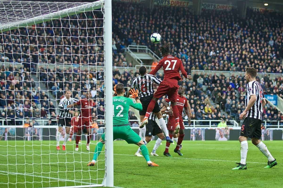 NEWCASTLE-UPON-TYNE, ENGLAND - Saturday, May 4, 2019: Liverpool's Divock Origi scores the third goal during the FA Premier League match between Newcastle United FC and Liverpool FC at St. James' Park. (Pic by David Rawcliffe/Propaganda)