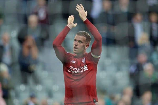 NEWCASTLE-UPON-TYNE, ENGLAND - Saturday, May 4, 2019: Liverpool's captain Jordan Henderson applause the supporters after the FA Premier League match between Newcastle United FC and Liverpool FC at St. James' Park. (Pic by David Rawcliffe/Propaganda)
