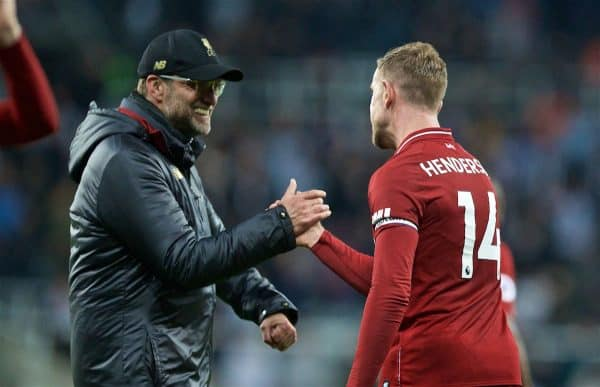 NEWCASTLE-UPON-TYNE, ENGLAND - Saturday, May 4, 2019: Liverpool's manager Jürgen Klopp shakes hands with captain Jordan Henderson after the FA Premier League match between Newcastle United FC and Liverpool FC at St. James' Park. Liverpool won 3-2. (Pic by David Rawcliffe/Propaganda)