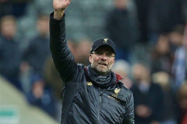 NEWCASTLE-UPON-TYNE, ENGLAND - Saturday, May 4, 2019: Liverpool's manager Jürgen Klopp thanks supporters after the FA Premier League match between Newcastle United FC and Liverpool FC at St. James' Park. Liverpool won 3-2. (Pic by David Rawcliffe/Propaganda)