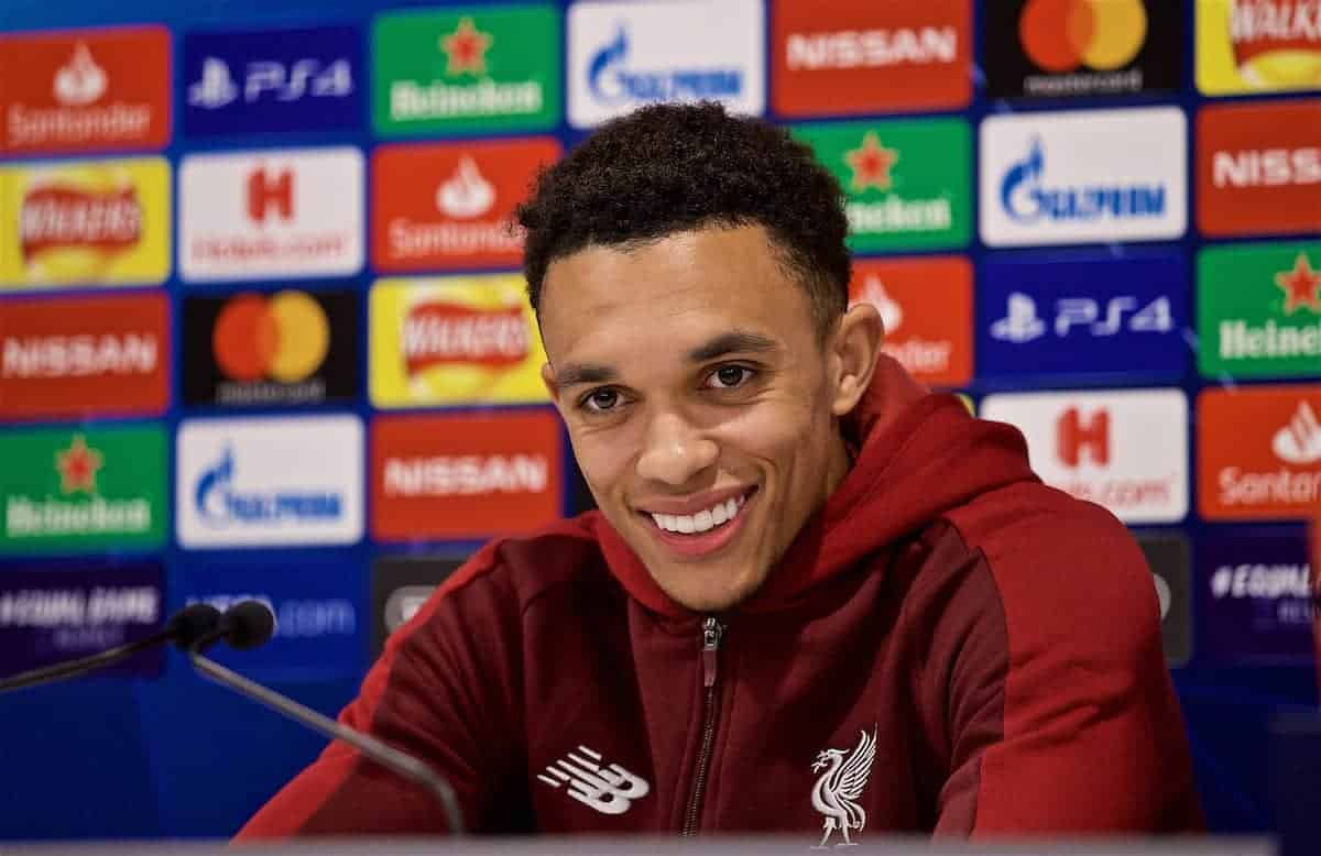 LIVERPOOL, ENGLAND - Monday, May 6, 2019: Liverpool's xxxx during a press conference ahead of the UEFA Champions League Semi-Final 2nd Leg match between Liverpool FC and FC Barcelona at Anfield. (Pic by David Rawcliffe/Propaganda)