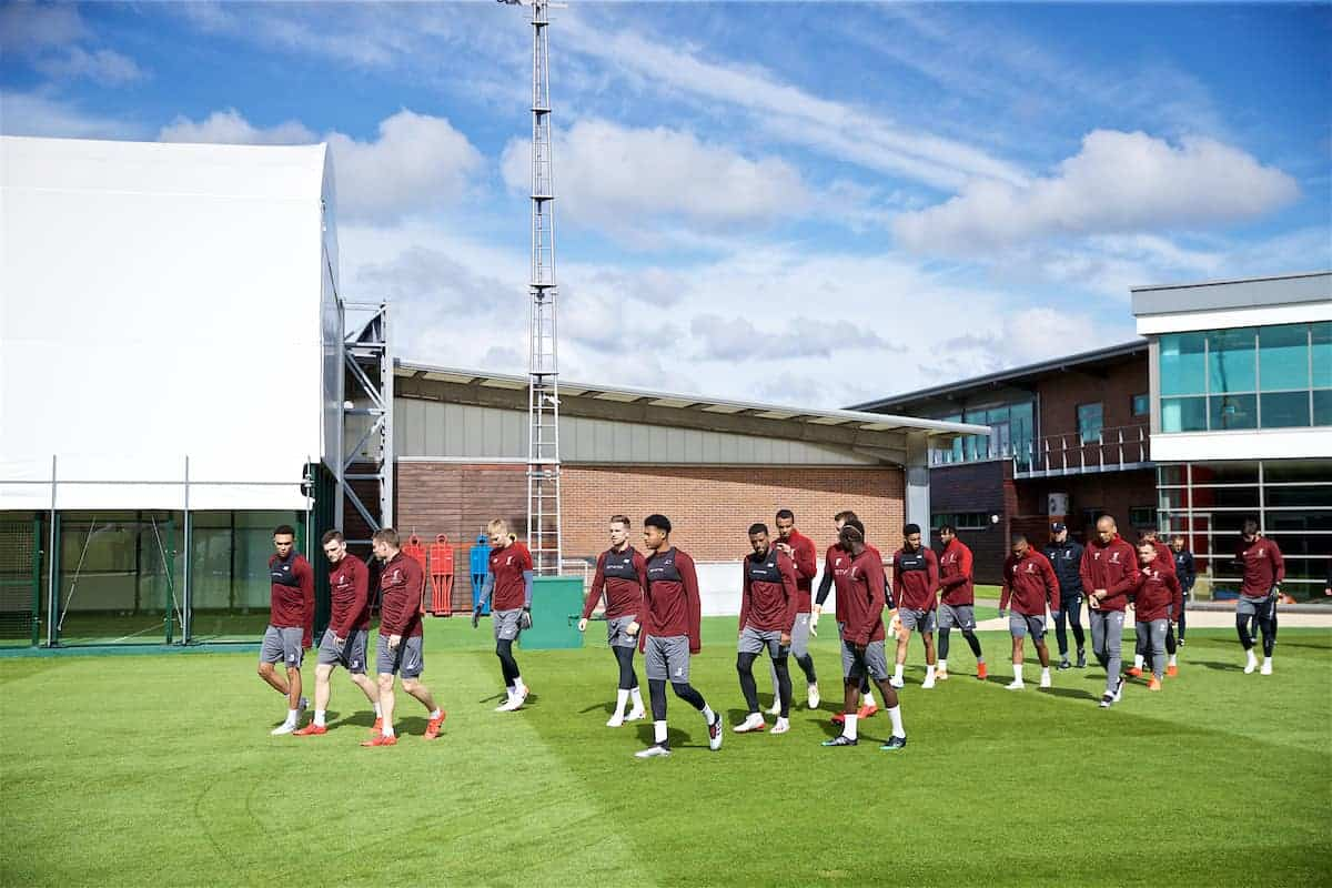 LIVERPOOL, ENGLAND - Monday, May 6, 2019: Liverpool players walk out for a training session at Melwood Training Ground ahead of the UEFA Champions League Semi-Final 2nd Leg match between Liverpool FC and FC Barcelona. (Pic by David Rawcliffe/Propaganda)