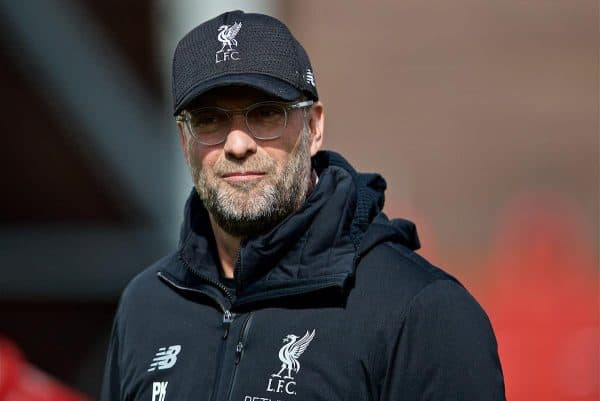 LIVERPOOL, ENGLAND - Monday, May 6, 2019: Liverpool's manager Jürgen Klopp during a training session at Melwood Training Ground ahead of the UEFA Champions League Semi-Final 2nd Leg match between Liverpool FC and FC Barcelona. (Pic by David Rawcliffe/Propaganda)