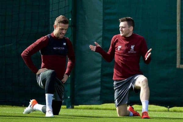 LIVERPOOL, ENGLAND - Monday, May 6, 2019: Liverpool's captain Jordan Henderson Liverpool' and Andy Robertson during a training session at Melwood Training Ground ahead of the UEFA Champions League Semi-Final 2nd Leg match between Liverpool FC and FC Barcelona. (Pic by David Rawcliffe/Propaganda)