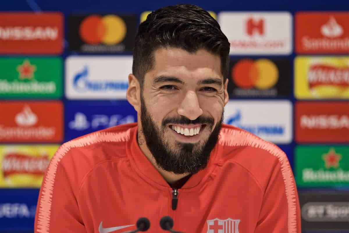 LIVERPOOL, ENGLAND - Monday, May 6, 2019: FC Barcelona's Luis Suárez during a press conference ahead of the UEFA Champions League Semi-Final 2nd Leg match between Liverpool FC and FC Barcelona at Anfield. (Pic by David Rawcliffe/Propaganda)