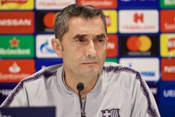 LIVERPOOL, ENGLAND - Monday, May 6, 2019: FC Barcelona's head coach Ernesto Valverde during a press conference ahead of the UEFA Champions League Semi-Final 2nd Leg match between Liverpool FC and FC Barcelona at Anfield. (Pic by David Rawcliffe/Propaganda)