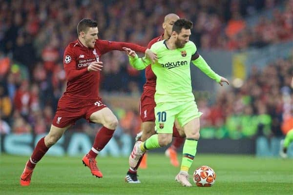 LIVERPOOL, ENGLAND - Tuesday, May 7, 2019: Liverpool's Andy Robertson (L), Fabio Henrique Tavares 'Fabinho' (C) and FC Barcelona's Lionel Messi (R) during the UEFA Champions League Semi-Final 2nd Leg match between Liverpool FC and FC Barcelona at Anfield. (Pic by David Rawcliffe/Propaganda)