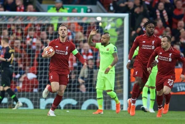 LIVERPOOL, ENGLAND - Tuesday, May 7, 2019: Liverpool's captain Jordan Henderson celebrates their side's first goal during the UEFA Champions League Semi-Final 2nd Leg match between Liverpool FC and FC Barcelona at Anfield. (Pic by David Rawcliffe/Propaganda)