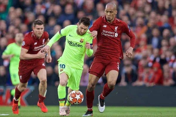 LIVERPOOL, ENGLAND - Tuesday, May 7, 2019: Liverpool's Fabio Henrique Tavares 'Fabinho' (R) and FC Barcelona's Lionel Messi (L) during the UEFA Champions League Semi-Final 2nd Leg match between Liverpool FC and FC Barcelona at Anfield. (Pic by David Rawcliffe/Propaganda)