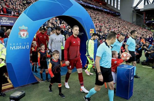 LIVERPOOL, ENGLAND - Tuesday, May 7, 2019: Liverpool's captain Jordan Henderson leads his team out before the UEFA Champions League Semi-Final 2nd Leg match between Liverpool FC and FC Barcelona at Anfield. (Pic by David Rawcliffe/Propaganda)