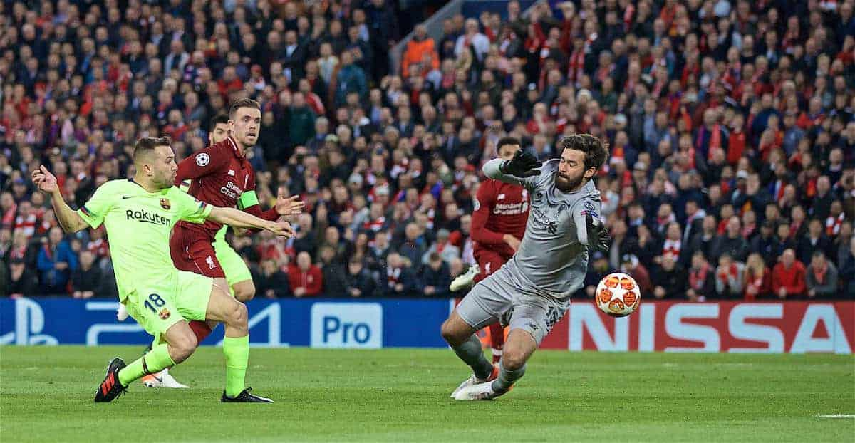 LIVERPOOL, ENGLAND - Tuesday, May 7, 2019: Liverpool's goalkeeper Alisson Becker makes a save from FC Barcelona's Jordi Alba during the UEFA Champions League Semi-Final 2nd Leg match between Liverpool FC and FC Barcelona at Anfield. (Pic by David Rawcliffe/Propaganda)