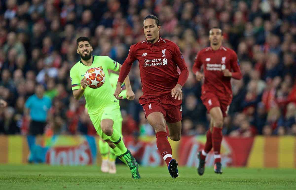 LIVERPOOL, ENGLAND - Tuesday, May 7, 2019: Liverpool's Virgil van Dijk during the UEFA Champions League Semi-Final 2nd Leg match between Liverpool FC and FC Barcelona at Anfield. (Pic by David Rawcliffe/Propaganda)
