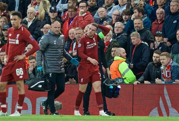 LIVERPOOL, ENGLAND - Tuesday, May 7, 2019: Liverpool's captain Jordan Henderson is treated for an injury during the UEFA Champions League Semi-Final 2nd Leg match between Liverpool FC and FC Barcelona at Anfield. (Pic by David Rawcliffe/Propaganda)