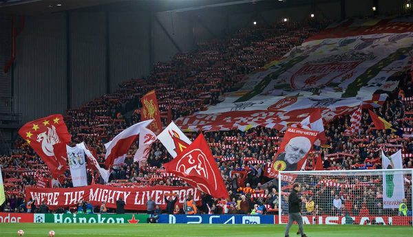 LIVERPOOL, ENGLAND - Tuesday, May 7, 2019: Liverpool supporters on the Spion Kop before the UEFA Champions League Semi-Final 2nd Leg match between Liverpool FC and FC Barcelona at Anfield. (Pic by David Rawcliffe/Propaganda)
