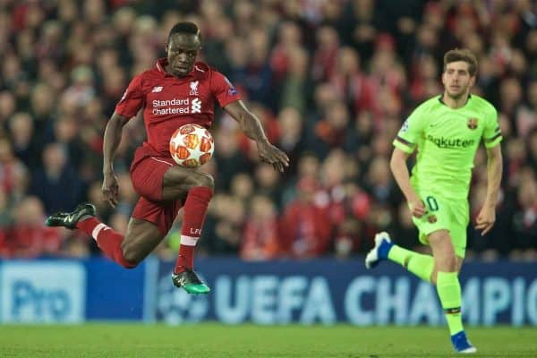 LIVERPOOL, ENGLAND - Tuesday, May 7, 2019: Liverpool's Sadio Mane during the UEFA Champions League Semi-Final 2nd Leg match between Liverpool FC and FC Barcelona at Anfield. (Pic by David Rawcliffe/Propaganda)