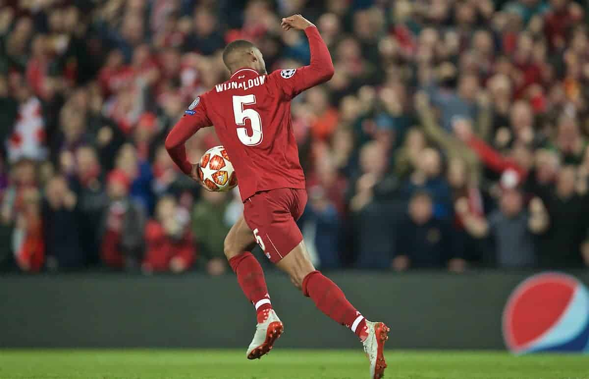 LIVERPOOL, ENGLAND - Tuesday, May 7, 2019: Liverpool's Georginio Wijnaldum celebrates scoring the second goal during the UEFA Champions League Semi-Final 2nd Leg match between Liverpool FC and FC Barcelona at Anfield. (Pic by David Rawcliffe/Propaganda)