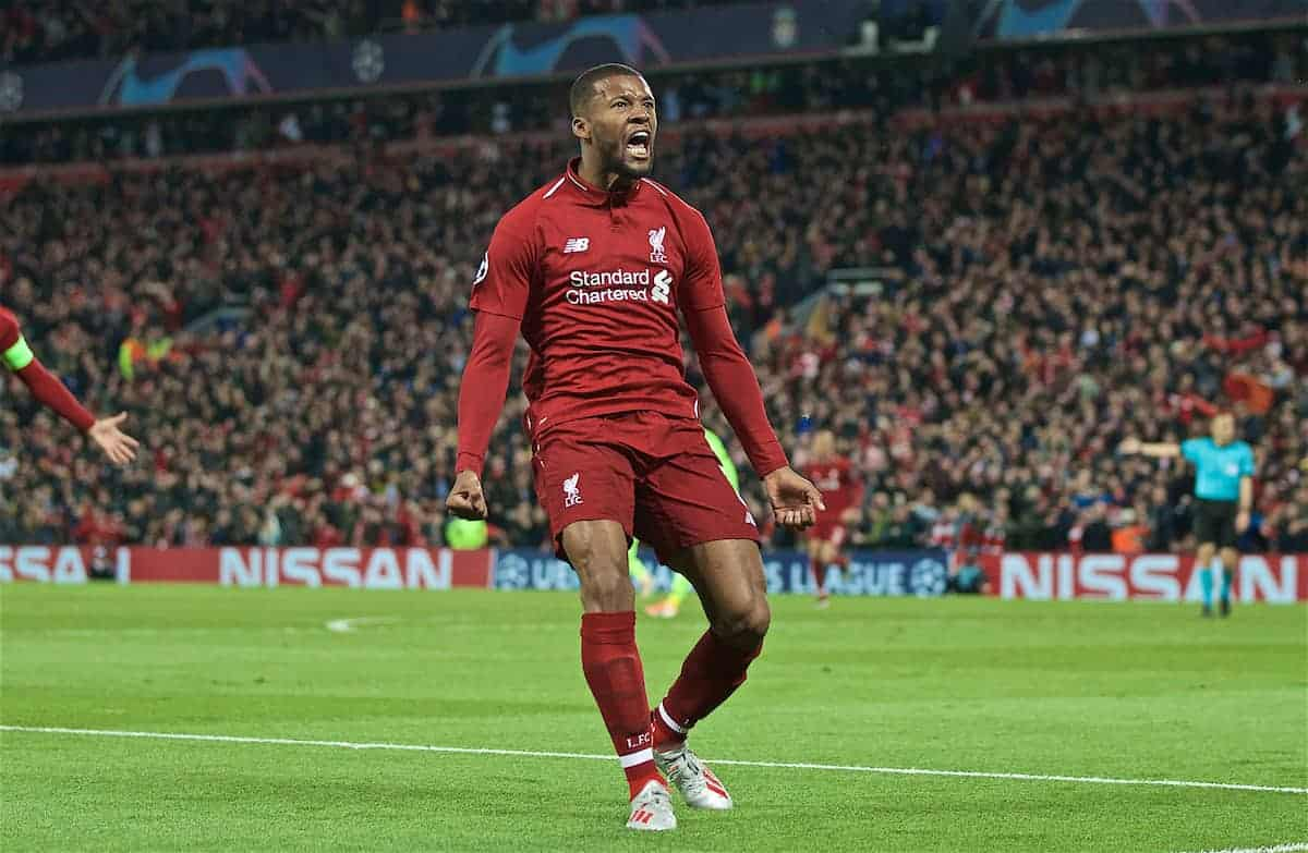 LIVERPOOL, ENGLAND - Tuesday, May 7, 2019: Liverpool's Georginio Wijnaldum celebrates scoring the third goal during the UEFA Champions League Semi-Final 2nd Leg match between Liverpool FC and FC Barcelona at Anfield. (Pic by David Rawcliffe/Propaganda)