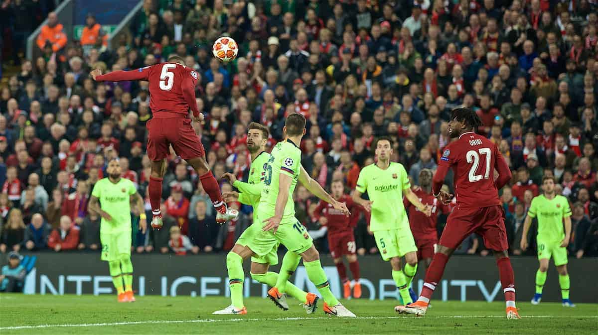 LIVERPOOL, ENGLAND - Tuesday, May 7, 2019: Liverpool's Georginio Wijnaldum scores the third goal during the UEFA Champions League Semi-Final 2nd Leg match between Liverpool FC and FC Barcelona at Anfield. (Pic by David Rawcliffe/Propaganda)