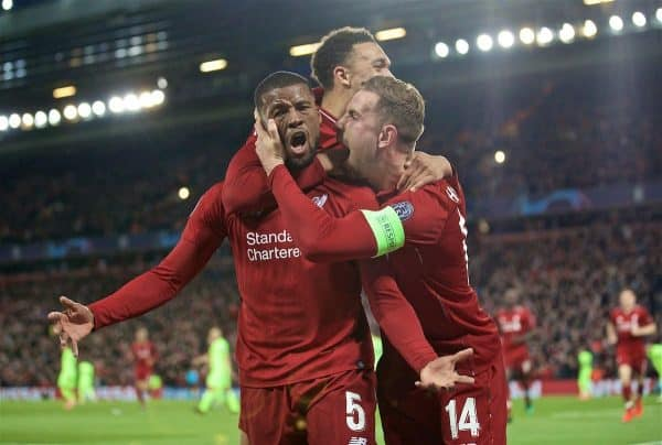 LIVERPOOL, ENGLAND - Tuesday, May 7, 2019: Liverpool's Georginio Wijnaldum celebrates scoring the third goal with team-mates during the UEFA Champions League Semi-Final 2nd Leg match between Liverpool FC and FC Barcelona at Anfield. (Pic by David Rawcliffe/Propaganda)
