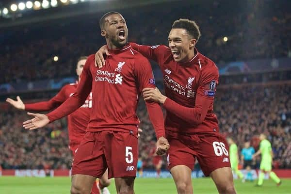 Liverpool's Georginio Wijnaldum (L) celebrates scoring the third goal with team-mate Trent Alexander-Arnold during the UEFA Champions League Semi-Final 2nd Leg match between Liverpool FC and FC Barcelona at Anfield. (Pic by David Rawcliffe/Propaganda)