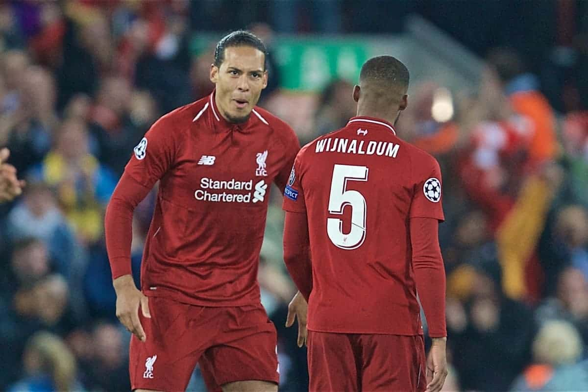 Liverpool's Georginio Wijnaldum (R) celebrates scoring the second goal with team-mate Virgil van Dijk during the UEFA Champions League Semi-Final 2nd Leg match between Liverpool FC and FC Barcelona at Anfield. (Pic by David Rawcliffe/Propaganda)