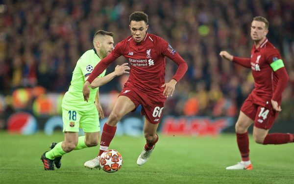 LIVERPOOL, ENGLAND - Tuesday, May 7, 2019: Liverpool's Trent Alexander-Arnold during the UEFA Champions League Semi-Final 2nd Leg match between Liverpool FC and FC Barcelona at Anfield. (Pic by David Rawcliffe/Propaganda)